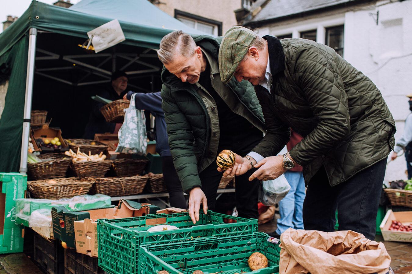 Shopping at a market